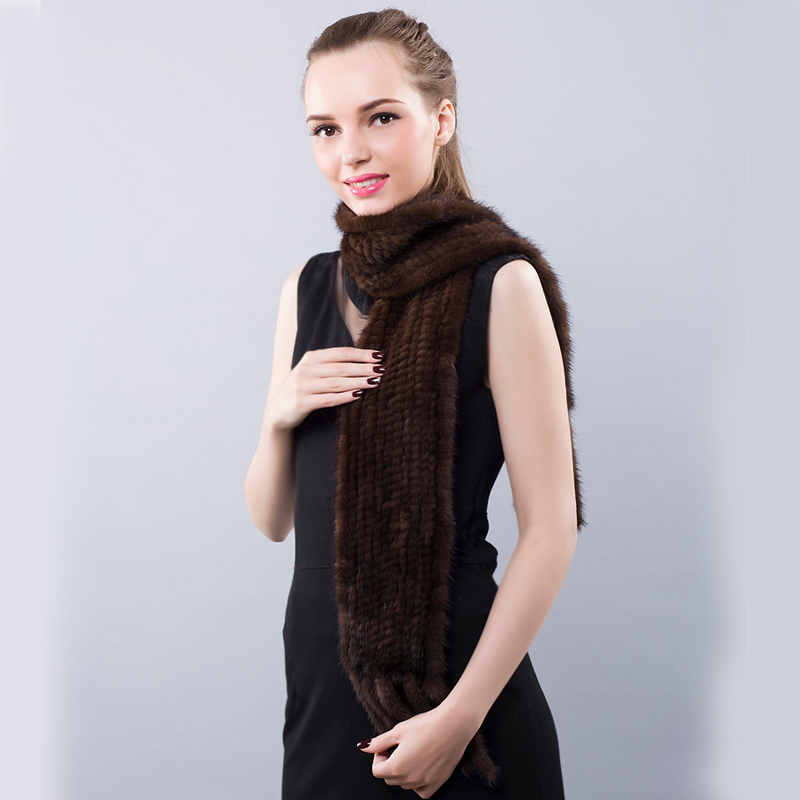 Winter Women Scarf Real Mink Fur New 2017 Natural Knitting Fur Russian Female White/Black Scarf Genuine Fur Scarves for Women