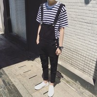Mens Fashion Black White Jumpsuit For Men Casual Suspender Pants Straight Casual Long Mens Overalls Spring