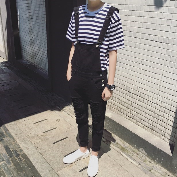 Mens Fashion Black White Jumpsuit For Men Casual Suspender Pants Straight Casual Long Mens Overalls Spring Autumn Clothing girl