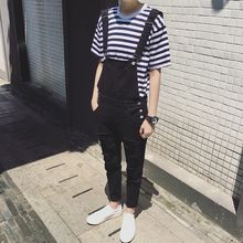 Mens Fashion Black White Jumpsuit For Men Casual Suspender Pants Straight Casual Long Mens Overalls Spring Autumn Clothing(China)