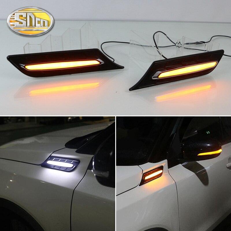 SNCN 2PCS Car Fender Light For Suzuki Vitara 2015 2016 2017 2018 LED Daytime Running Light Turn Signal Lamp 12V DRL Side Bulb