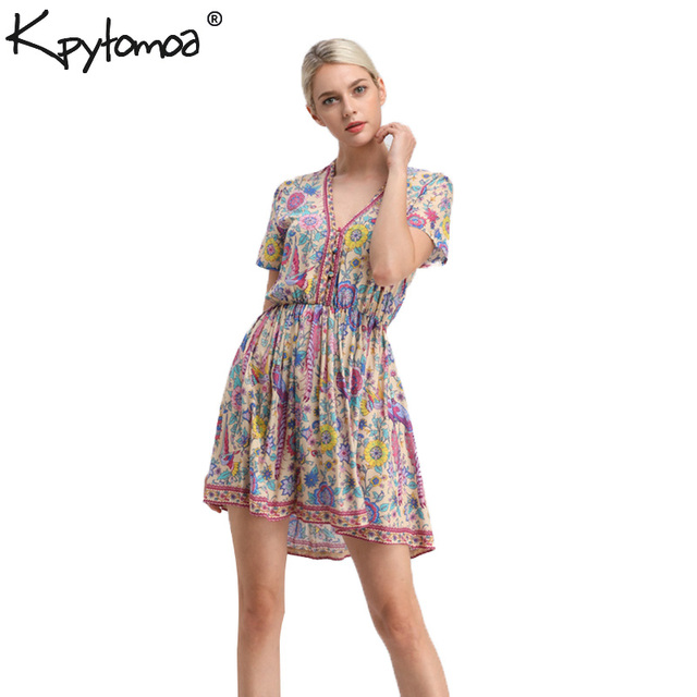 Boho Vintage Birds Floral Print Mini Dress Women 2019 New Fashion V-Neck Short Sleeve Summer Beach Dresses Casual Vestidos Mujer