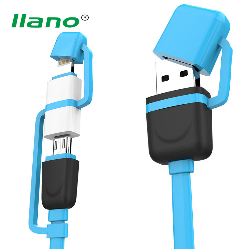llano 2 in 1 Colorful USB Data Cable for iPhone Micro USB 2A Fast Charging Cable Code for Samsung ...