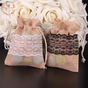 Image 3 - 8.5X11 Cm 50 Stuks Kant Natuurlijke Jute Jute Tasje Jewelry Gift Candy Bag Home Decoratie Wedding Party decoratie Supply