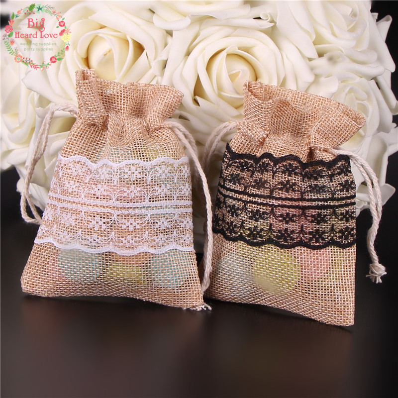 Image 3 - 8.5x11cm 50Pcs Lace Natural Jute Burlap Drawstring Bag Jewelry Gift Candy Bag Home Decoration Wedding Party Decoration Supply-in Gift Bags & Wrapping Supplies from Home & Garden