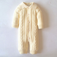 0-18M Knitted One-pieces Cotton Winter Baby Romper Long Sleeve Thick Warm Sweater For Boy Girl ABS-1551