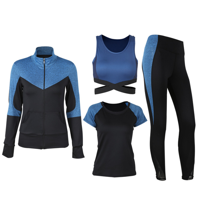 Four Pieces Women Yoga Set Lake Bule and Black S-XL Sportswear Running Dancing Gym Suit Shirt+Bra+T-shirt+Leggings