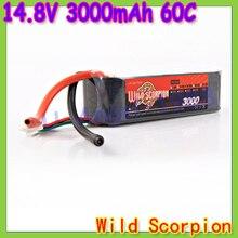 HK Free shipping wild scorpion 100% Brand Li-PO RC 14.8V 3000mAh 60C 4S RC Car Helicopter model plane Lipo Battery