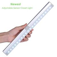 FangNymph Night Light 30 Degree Adjustable Sensor PIR Motion Recharge Wardrobe Lights 20 LEDs Wireless Closet