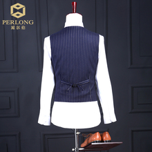 Tailor Made Blue Stripe Men Suits Brand Fashion Blazers Slim Fit Prom Groom Wedding Suit Jacket+Pants+Vest 3 Piece S-6XL