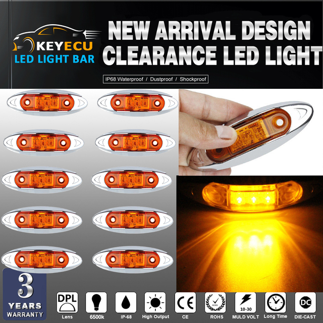 KEYECU 10PCS Amber Universal LED Side Clearance Markers lights for