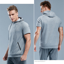 Men's Sportswear Quick Dry Hoodie Running Cycling Gym Hooded Training Jogger Shortsleeve Breathable Sport Shirts ropa deportiva