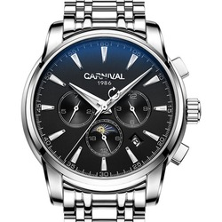 Karnawał męskie wielofunkcyjne Dial stali nierdzewnej Watchband automatyczne zegarek mechaniczny zegarek-srebrna ramka czarna tarcza
