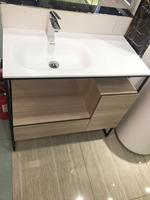 900mm Floor Mounted Solid Surface Acrylic Vanity Oak Bathroom Cabinet Cloakroom Matt White Sink 20000 0