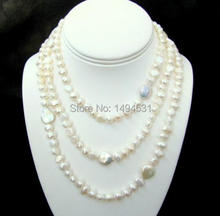 Wholesale Pearl Jewelry – Long 46 Inches White Color Baroque Shape Genuine Freshwater Pearl Necklace Bridesmaids Wedding Gift