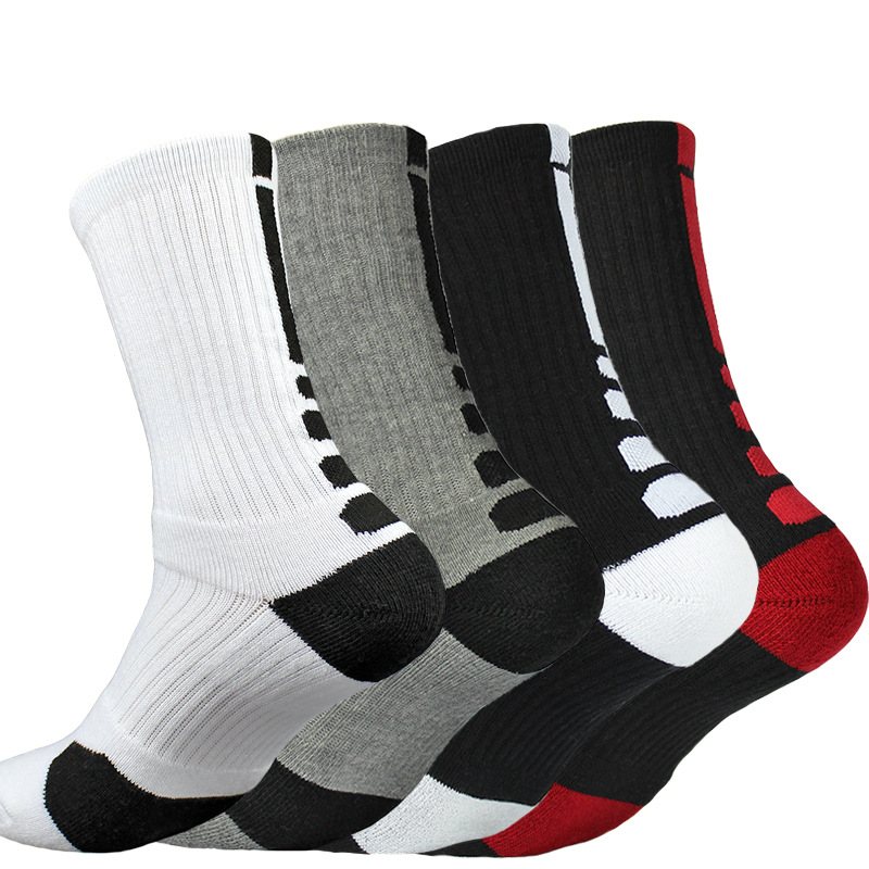 Super Elite Men Cotton Basketball Long Sock Crew Work Walking Hiking Sport Sock Sports Mens Funny Cycling Cushioned Terry Damper