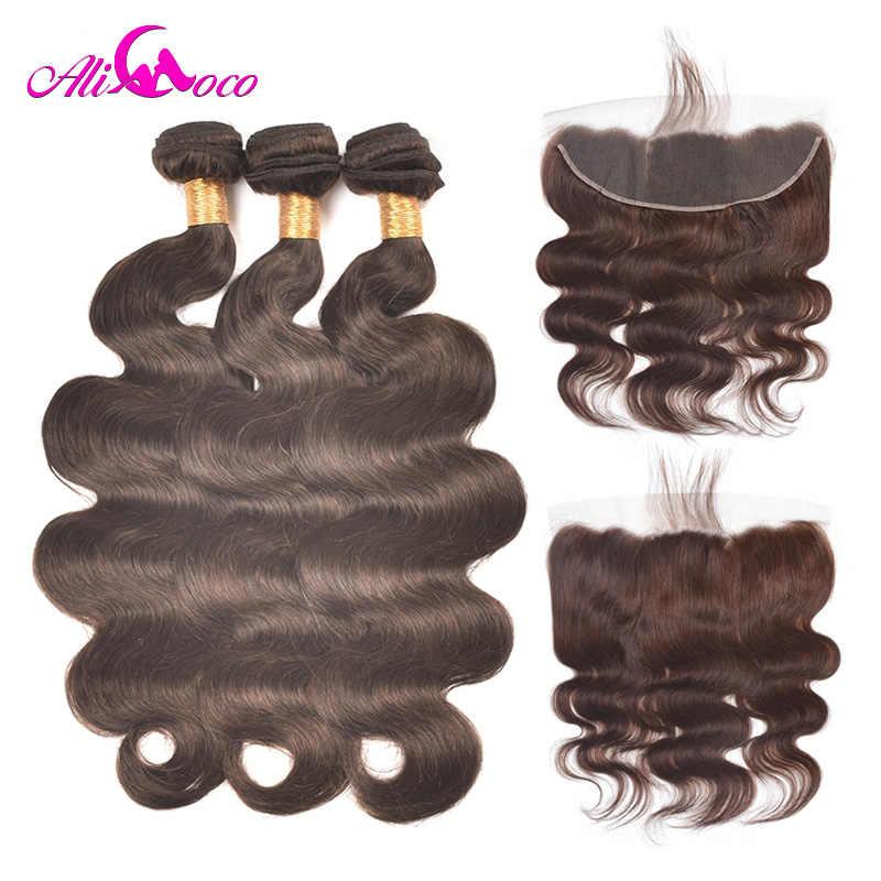 Paquetes de onda del cuerpo de Ali Coco con Color Frontal 2 13*4 oreja a oreja encaje Frontal cabello humano con cierre de encaje cabello no Remy