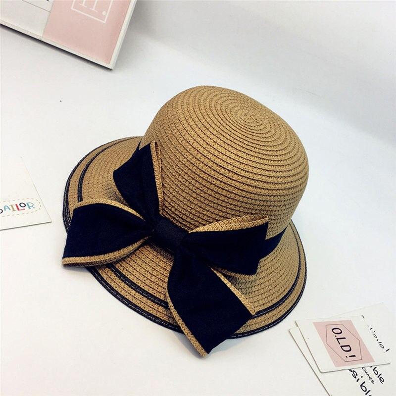 New Women Summer Parent-child Women Casual Daily Baby Kids Girl Beach Bow Straw Flat Brim Sun Hat Cap #4F09 (14)