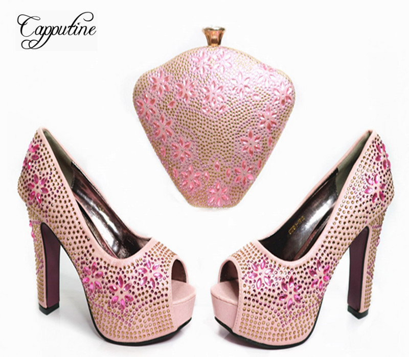 Capputine High quality Italian Rhinestone Pink Color Shoes And Bag Set Fashion Design Shoes And Bag Set For Evening Party G36 capputine new arrival fashion shoes and bag set high quality italian style woman high heels shoes and bags set for wedding party