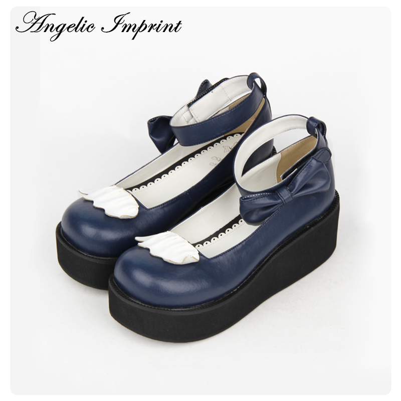 7cm Wedge Heel Sweet Lolita Shoes Navy Blue Leather Bowknot Ankle Strap Princess Girls Shoes lovely smilling kitty face faux wooden wedge lolita shoes ankle strap sweet pink girls shoes