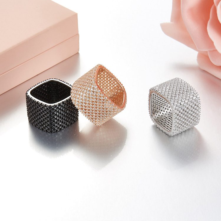 NEW fashion 925 sterling silver Zirconia cusion rings black white rose gold yellow gold color Party