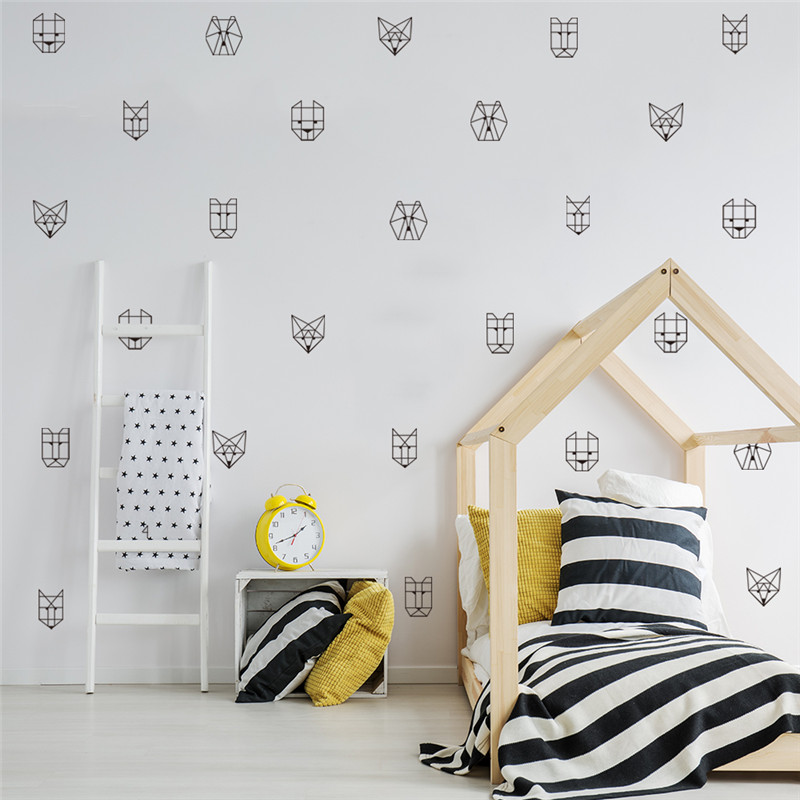 6pcs Geometric Animal Wolf Wall Sticker Removable Decal for Kid Room Baby Room Decoration Accessories Wall Decor Sticker Mural in Wall Stickers from Home Garden