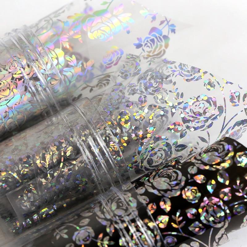4*100cm/Roll 3D Holographic Rose Flowers Design Laser Foil Stickers Manicure