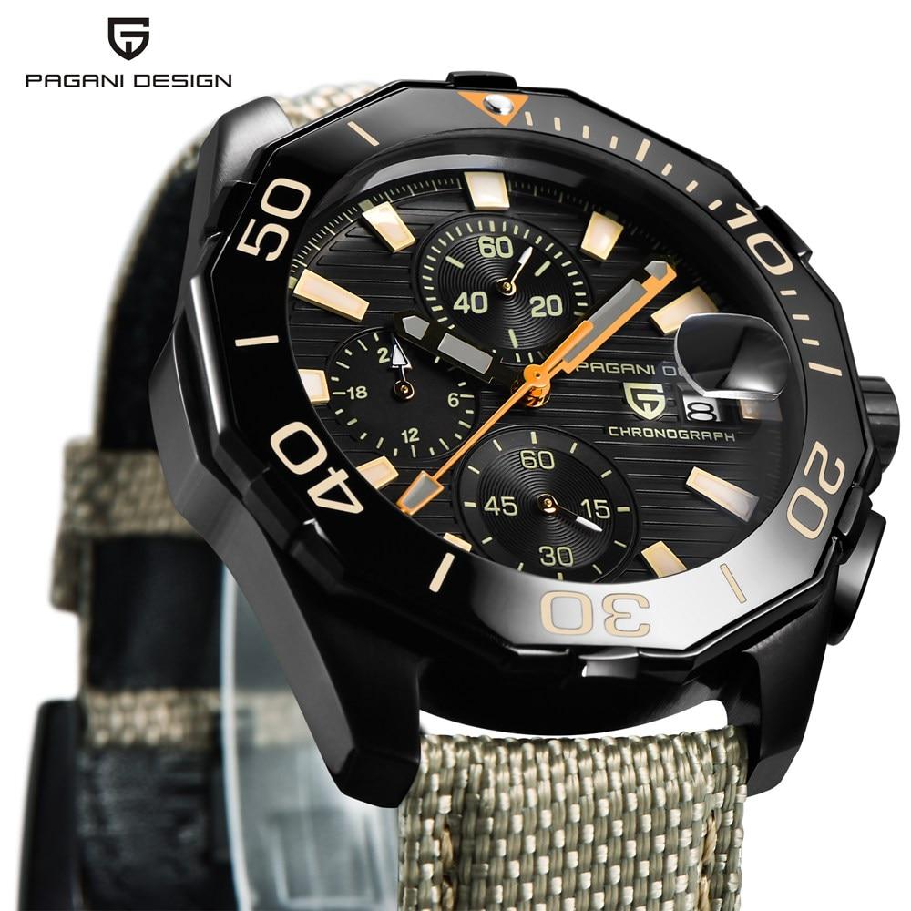 PAGANI DESIGN en acier inoxydable hommes montres marque de luxe chronographe Sport affaires étanche Quartz montre bracelet hommes horloge mâle - 2