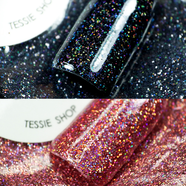 tessie shop Beautiful Glitter Nail Designs 0.2mm Gold Holographic ...