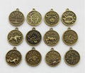 10 sets (120pcs)  Assorted Antiqued bronze Zodiac charms   twelve constellations Metal sign pendant wholesale