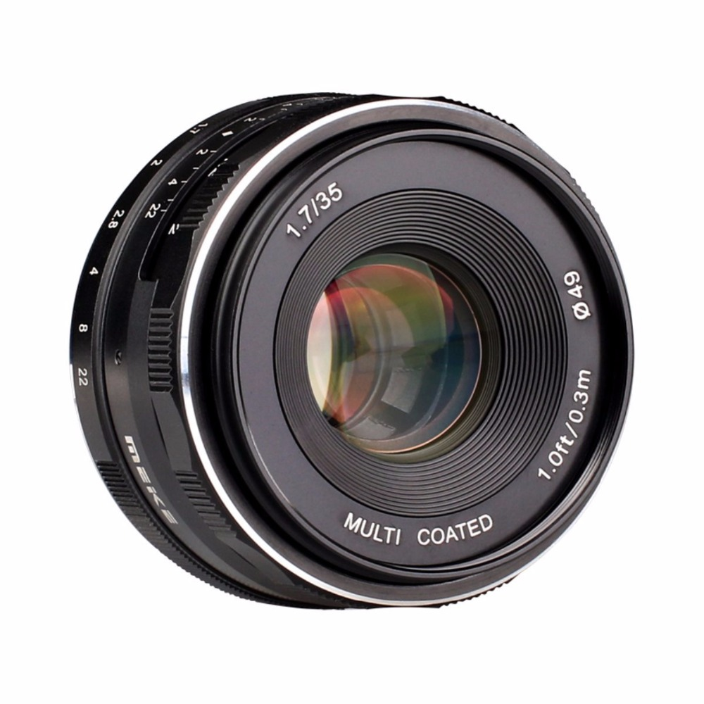 MEKE 35mm f/1.7 Manual Focus Fixed Lens for Sony E Mount Digital Cameras NEX 3/3N/5/5T/5R/5N/NEX 6/7/a5000/a5100/a6000/a6300 объектив sony 18 200mm f 3 5 6 3 e для nex 3 nex 5 sel 18200
