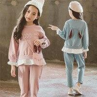 Autumn Suit Girl 2018 New Cotton Fashion Cute Rabbit Children Clothing Set Teenage Girls Sport Clothes Kids 3PCS Set CLS236