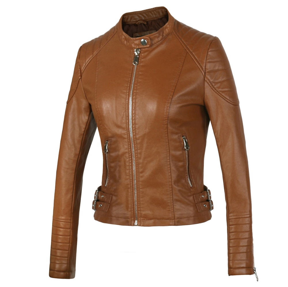 New 2016 Women s Winter Autumn Brown bomber motorcycle Leather jackets women 2 color brand jacket