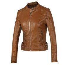 New 2016 Women's Winter Autumn Brown bomber motorcycle Leather jackets women 2 color brand jacket jaqueta de couro Women coat