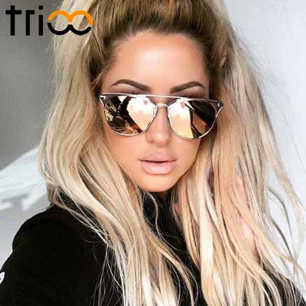 TRIOO Mirror Rose Gold Women Sunglasses Round Luxury Brand Female Sun Glasses For Women 2017 Fashion Oculos Star Style Shades цена