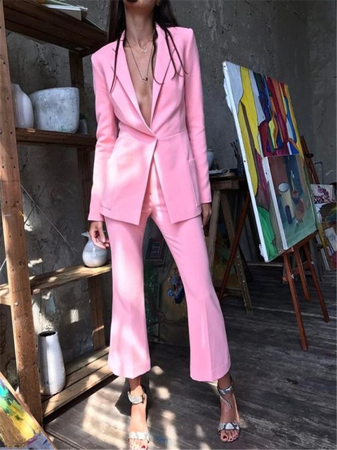 2019 Roze Formele vrouwen Office Fashion Casual Suits Vrouwen Zaken Prom Wedding Tuxedo Suits 2 Stuks Jas Broek Traje mujer-in Broekpak van Dames Kleding op  Groep 1