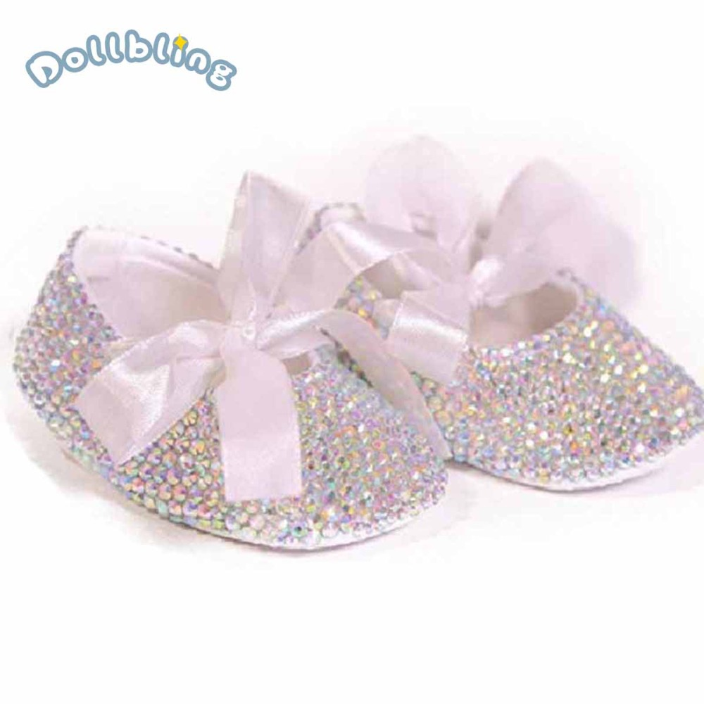 Free Ship New Year Christening White Ribbon Lace Bow Briades Bling Gown Designer AB Rhinestones Custom Baby Name And Date