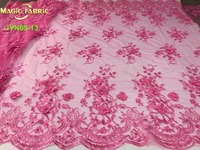 Nigerian 3d Flower Lace Pink French Lace Fabric High Quality Beaded Net Fabric For Evening Dresses
