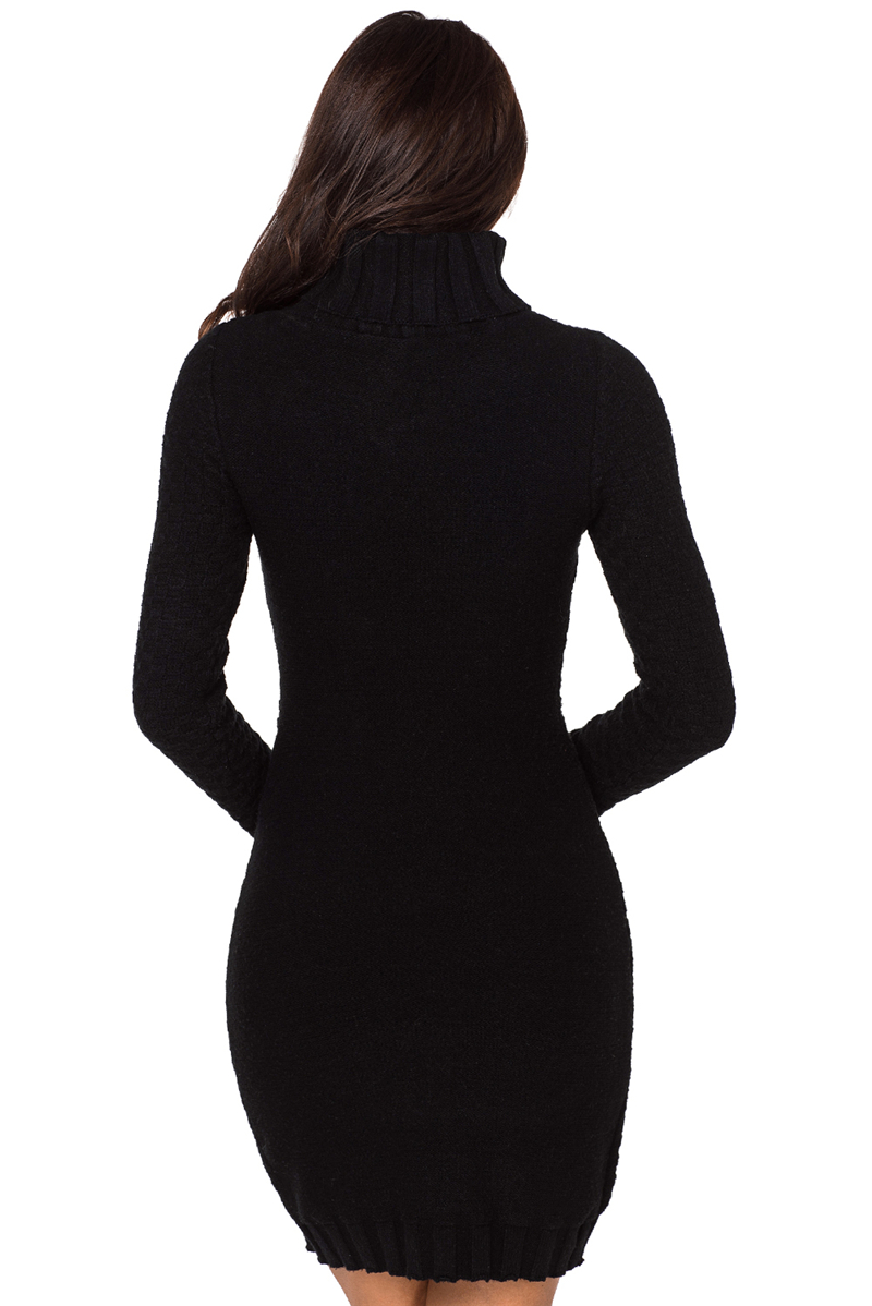 Black-Stylish-Pattern-Knit-Turtleneck-Sweater-Dress-LC27867-2-2