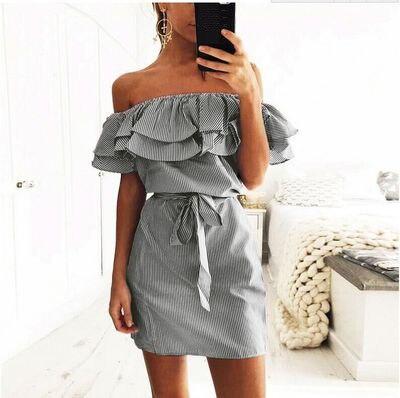 Women summer dress 2018 new fashion stripe slash collar Petal sleeve sashes dropshipping mini dress vestidos de festa RL6806