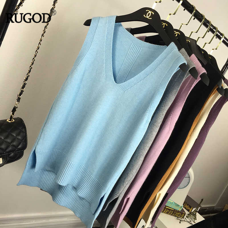 RUGOD สี Candy ถักเสื้อกั๊กผู้หญิงสบายๆ V คอเสื้อแขนกุดฤดูใบไม้ผลิฤดูใบไม้ร่วงเสื้อถัก Tops คุณภาพสูง waistcoat