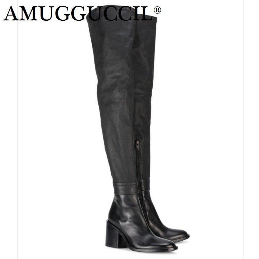 2018 New High Quality Plus Big Size 33-45 Black Fashion Zip Sexy Over The Knee Thigh High Winter Females Lady Women Boot X1706 2018 plus big size 32 43 orange black white rivets fashion sexy high heel summer females lady women wedges sandal slippers l715