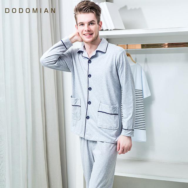 ¿ QUÉ MIAN Para Hombre Pijamas de Manga Larga de Dos Piezas Conjuntos de Pijamas Ropa de Dormir Flojo Traje de Dormir Del Sueño del Algodón de Los Hombres Camisetas + parte inferior del Pantalón