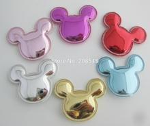 PANVNN High quality shiny PU leather appliques multicolors 120pcs micky for hair clips ornament
