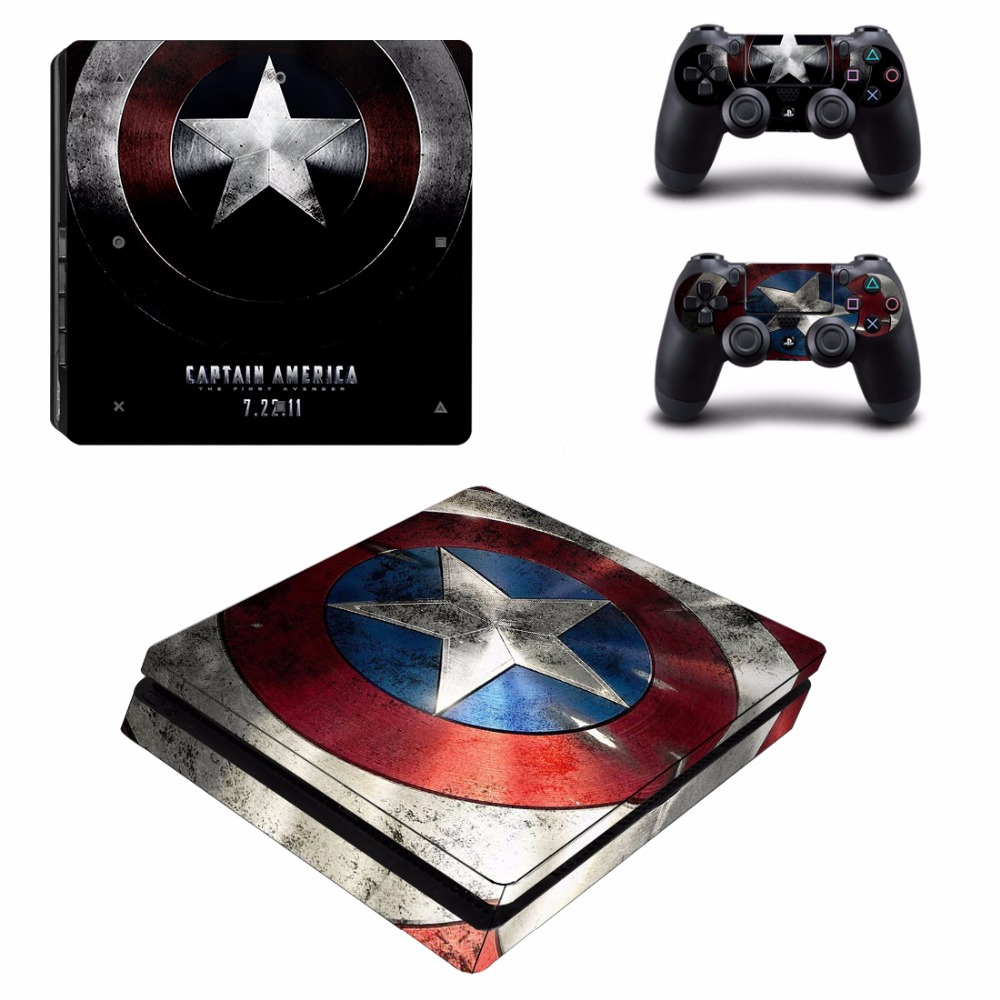 Avengers Captain America PS4 Slim Skin Sticker For PlayStation 4 Console and 2 Controllers PS4 Slim Skins Sticker Decal Vinyl(China)