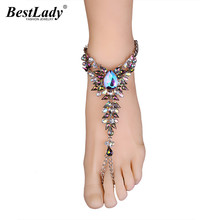 Best lady Fashionable Bohemian Wedding Jewelry Crystal Anklets Bracelets Multi Color Facebook Hot Boho Anklets For Women 5264