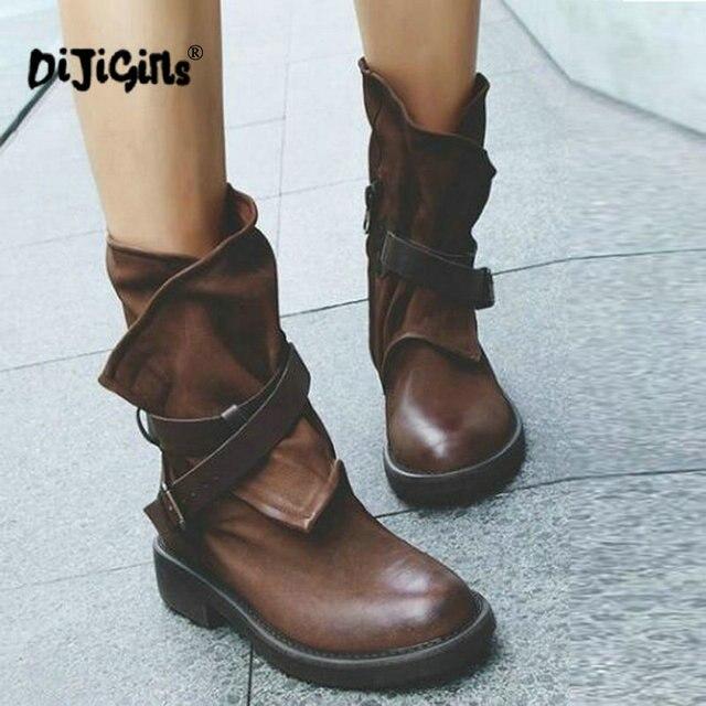 Mode Medium Militaire Laarzen Vrouwen Gesp Kunstleer Patchwork Schoenen sapatos mulheres conforto # a35