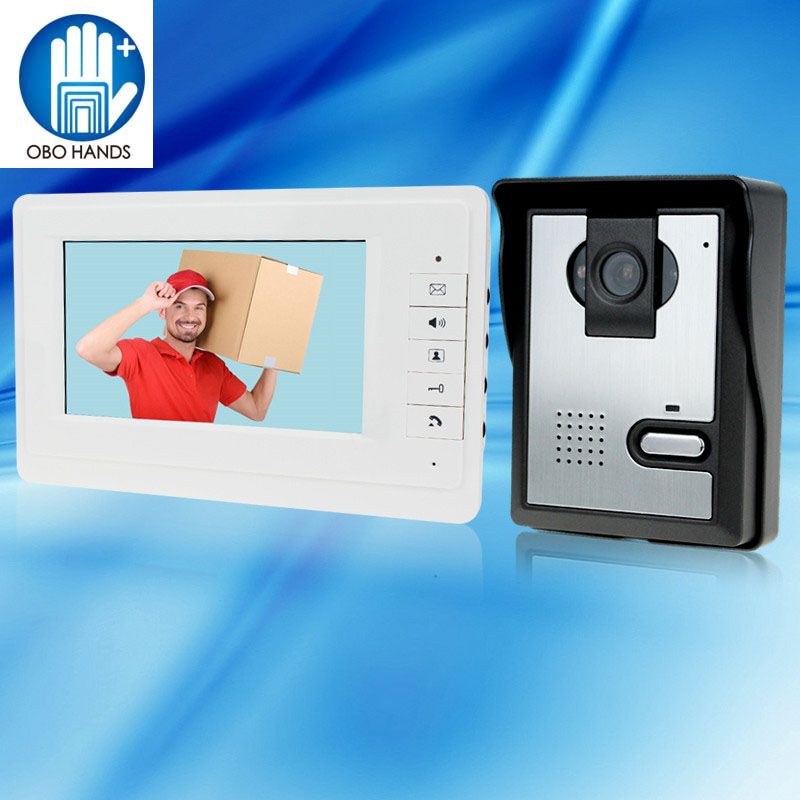 7 inch TFT- LCD Video Intercom Doorbell System 1 Monitor Screen Door Phone+1 LED Night Vision Outdoor Camera Metal Interphone tmezon 4 inch tft color monitor 1200tvl camera video door phone intercom security speaker system waterproof ir night vision 4v1