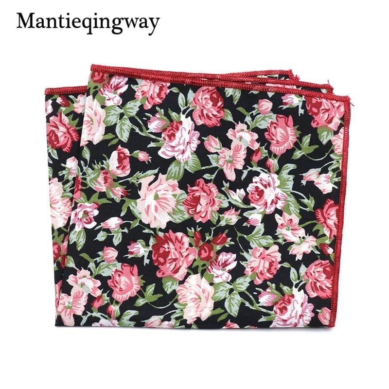 Mantieqingway Casual Cotton Floral Printed Handkerchiefs Pocket Towel Mens Business Wedding Texudo Pocket Square Ladies Hankies