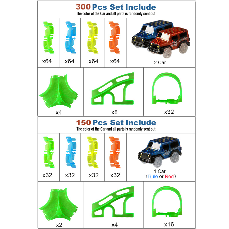 300150-PCS-Bend-Flexible-Curve-Slot-DIY-Track-Toy-Set-with-glows-in-the-dark-Track-LED-light-Racing-Car-Toys-for-children-kids-5